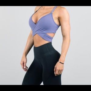 purple wrap around alphalete bra XS
